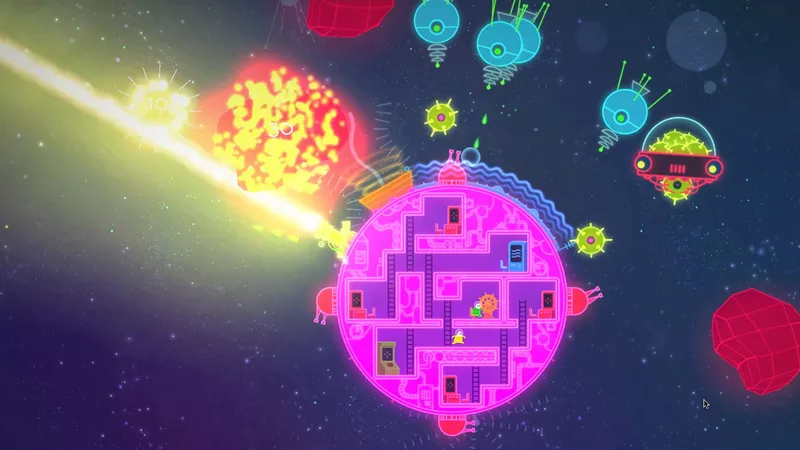 Lovers in a Dangerous Spacetime - firing a giant laser