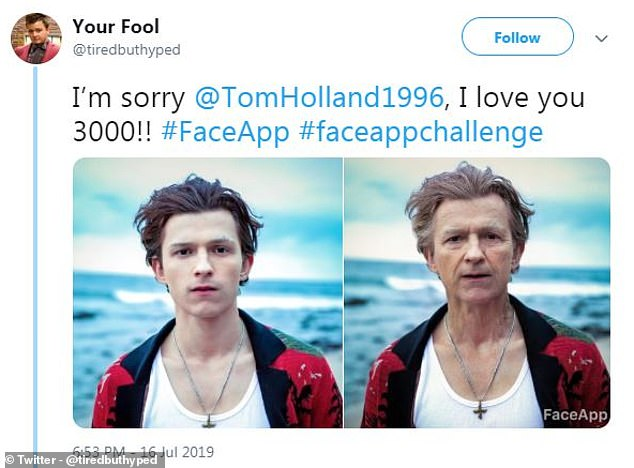 Experts are warning of security concerns when using FaceApp, a new social media craze that augments your face to make you look like an old person. Here, an example of how the app transforms your face. Actor Tom Holland is seen here, posted by Twitter user Your Fool